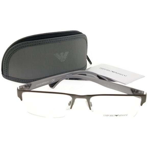 dab08323afb EA1050-3003-53 Rectangle Men Grey Frame Eyeglasses. NWT. Emporio Armani